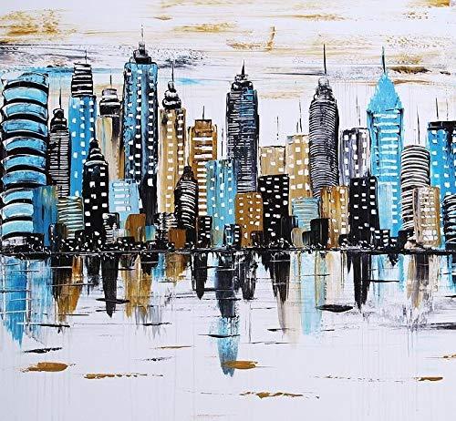 ETA-BL Quadro Astratto City Quadrato, Dimensioni 80/80cm, Pittura Astratta all' Olio Montato su Un Telaio in Legno, Quadro Firmato. Quadro City Dipinto a Mano. Finitura al Coltello. Effetti reliefs.