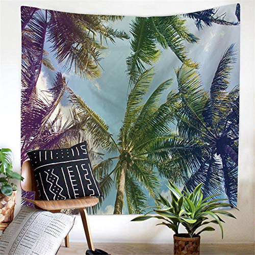 Summer Beach Print Tapestry Palm Tree Wall Hanging Carpet Bus Surf Tenture Mural Holiday Home Office Decoration 130×150cm