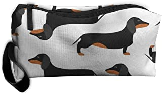Styleforyou Travel Makeup White Dachshund Dog Cosmetic Pouch Makeup Travel Bag Purse for Women Or Girls