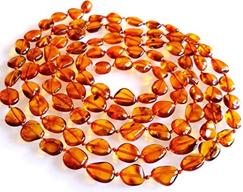 Ambermilana 120 cm Lang Natur Bernstein Kette Halskette/Damen/Bernstein HEILSTEIN/Höchste Qualität Zertifiziert Authentische Baltischen Bernstein