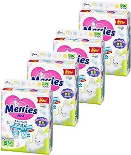 ( amazon.co.jp 限定 ) ( 整箱贩卖 ) 花王 Merries 纸尿裤 s码 ( 4~ 8kg ) 干爽透气328片 ( 82片 × 4)