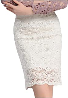 Zimaes Women's Oversized Over Waist Sexy Bodycon Solid Colored Lace Skirt