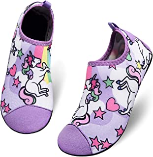 Romote Kids Water Shoes River Shoes Aqua Sock Shoes Non-Slip Quick Dry Slip-on Barefoot Soft for Beach Swimming Pool for Boys & Girls Toddler with Barefoot Swim Shoe