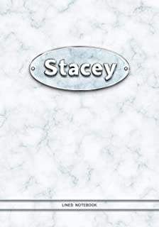 Stacey - Lined Notebook: College Ruled Blank Pages Plus Extra Date Neutral Calendar (12 Months) and Notepad Sketch Designs. Cover Print White Marble Background with Silver-Imitating Name Illustration.