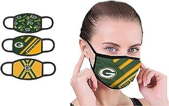 KARPOS Face Bandanas Reusable 3 Pack Unisex Designer Mouth Covering Breathable Dustproof Covering (Green Bay-Packs)