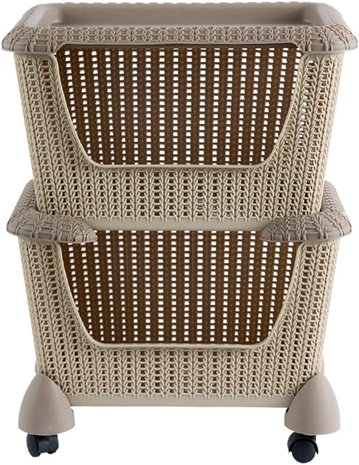 2 3 4-Tier Stackable Storage Baskets Rolling Cart, Rolling Storage Trolley for Kitchen & Bathroom - Utility Storage Cart with Wheels & Shelves,Brown,2Tier