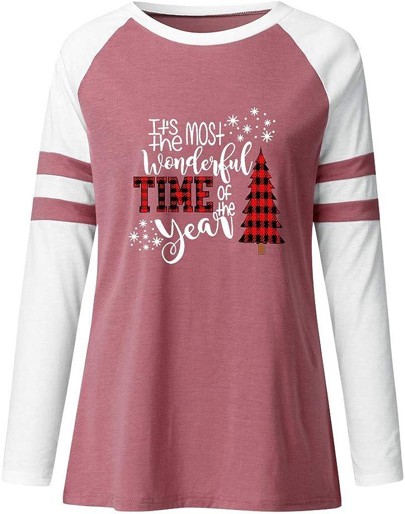Misaky Women's Long Sleeve Shirt Christmas Tree Letter Print Crewneck Casual Cute Holiday Tshirt Blouse Tops