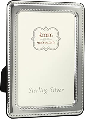 """Eccolo Made in Italy Sterling Silver Photo Frame, 8 by 10"""", Black Houndstooth"""