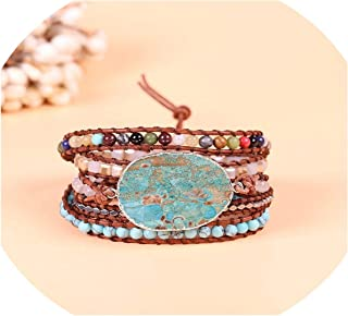 Women Leather Bracelet Unique Mixed Natural Stones Gilded 5 Strands Wrap Bracelets Handmade Boho Bracelet