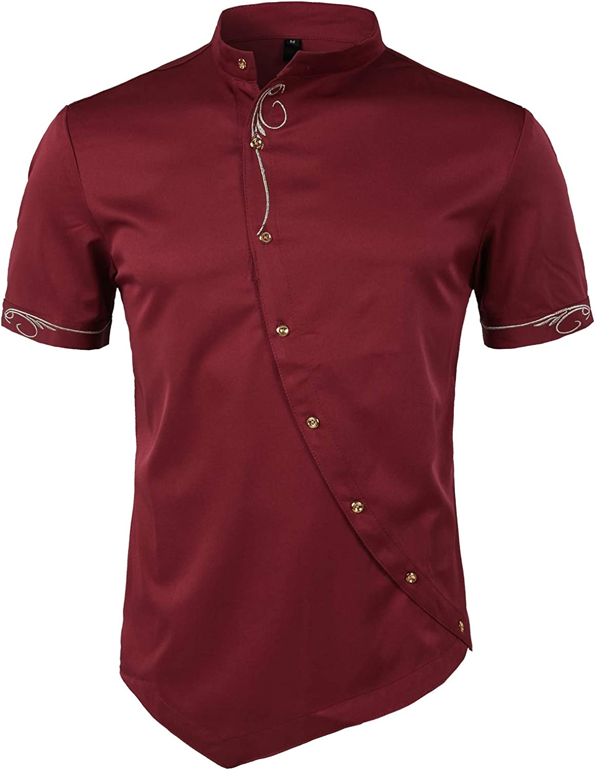 Whatlees Mens Casual Hipster Short Sleeve long Dress Shirts with Embroidery