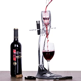 Tirrinia Wine Aerator Stand Set, Wine Accessories Tower Holder Kit, Includes Wine Decanter Aerator, Stopper, Opener, Pourer and Foil Cutter, Perfect Gift for Wine Lover