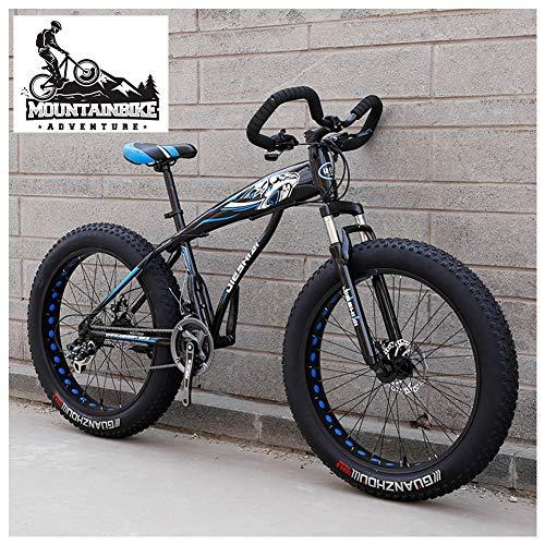 NENGGE Mountain Bike Pneumatico Grasso per Adulti, Uomo Donna Bicicletta Mountain Bike con Sospensioni Anteriori, Doppia Freni a Disco Fat Bike da Montagna, Unisex,New Blue,26 inch 7 Speed