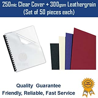 50 sets of 250mic binding clear cover +300gsm leathergrain cover