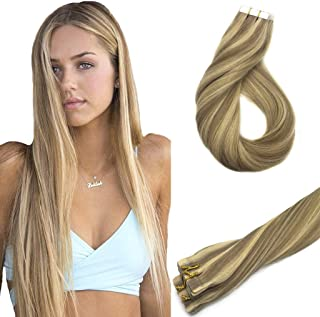 Googoo 20inch Tape in Hair Extensions Ombre Honey Blonde Highlighted Golden Blonde Remy Human Hair Extensions Tape in Silky Straight 20pcs 50g
