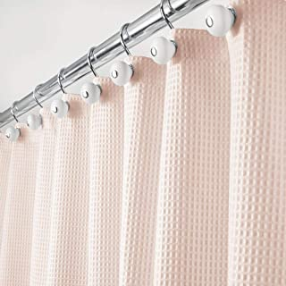 mDesign Hotel Quality Polyester/Cotton Blend Fabric Shower Curtain with Waffle Weave and Rust-Resistant Metal Grommets for Bathroom Showers and Bathtubs - 72