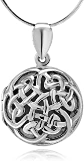 Chuvora 925 Sterling Silver Open Celtic Knot Circle Round Pendant Locket Necklace, 18 inches - Nickel Free