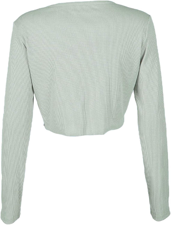 Womens Long Sleeve Open Front Cardigan Button Up Knitting Jumper Crop Tops