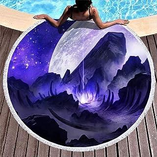Fantasy Astronaut Purple Beam Planet Print Ultra Soft Round Beach Handduk med tofsar Holiday Fringe Outdoor Matta Vit 59 t...