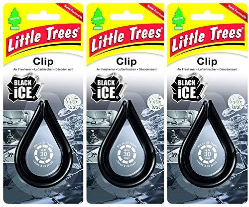 Black Ice Wunder-Baum Clips im 3er-Pack - Lufterfrischer für überall inkl. Original Glasreinigungstuch von SP Großhandel (Black Ice)