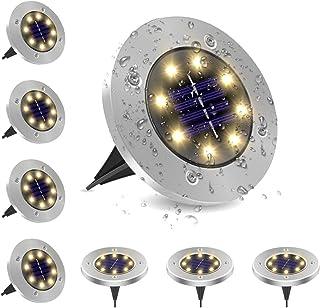 LightingWill Solar Ground Lights, 8 LED Warm Light Outdoor Waterproof In-ground Lights, Solar Garden Lights, Landscape Lig...