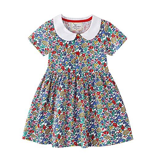 LOKKSI - Vestido de verano de algodn para nias y nios, cuello floral, vestido de princesa, vestidos de fiesta para nias