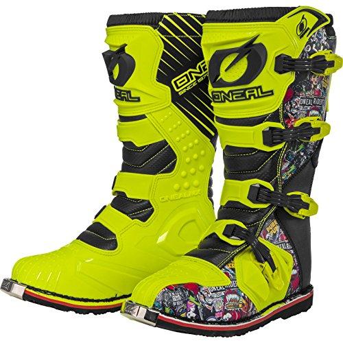 O'Neal Rider Boot Crank MX Cross Stiefel Neon Gelb Pin It Motorrad Enduro Motocross Offroad, 0329-0, Größe 44