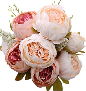 Veryhome Artificial Silk Peony Bouquets Wedding Home Decoration,Pack of 1 (Light Pink)
