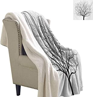 Gabriesl Tree Berber Fleece Blanket 60x78 Inch Old Withered Oak Crown Without Leaves Tree Branches Rustic Theme Illustration Throw Blankets Charcoal Grey White