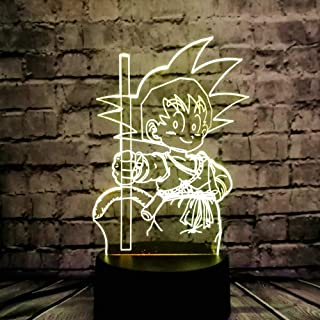 LED Acrylic Lamp 3D Japan Cartoon Super Goku Monkey USB Remote Charge 7 Dragon Ball Colorful Baby Produce Sleep Bedside Child Decor Mood Bulb Lava Night Lights Kids Holiday Toy Gift(Dragon Ball Body)