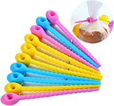 10pcs Reusable Fastening Adjustable Cable Ties, All-Purpose Silicone Cable Management Zip Tie Multi-use Bag Clip Food Grade Bread Tie Reusable Rubber Twist Tie, Bag Ties, Household Ties 4.3inch