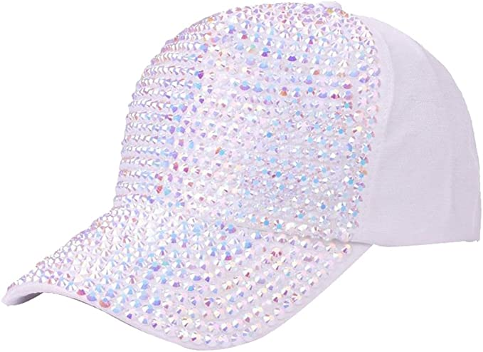 ArtiMah Women Sparkle Rhinestone Hat Cap with Bling Beads Baseball Curve Brim
