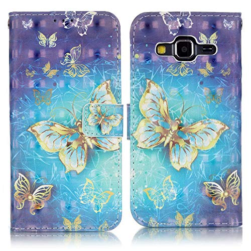 C-Super Mall-UK Samsung Galaxy Core Prime (SM-G360F) Custodia,Squisito 3D Modelli Dipinti Pelle Sintetica Portafoglio Stand Flip Cover per Samsung Galaxy Core Prime (SM-G360F)(Oro Farfalla)