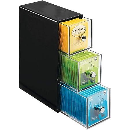 mDesign boite de rangement cuisine avec 3 tiroirs – casier de rangement pour sachets de thé, tisane, infusion, dosette de café, édulcorant, sucre et plus – boite à thé en plastique – noir