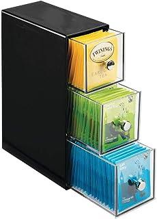 mDesign boite de rangement cuisine avec 3 tiroirs – casier de rangement pour sachets de thé, tisane, infusion, dosette de ...
