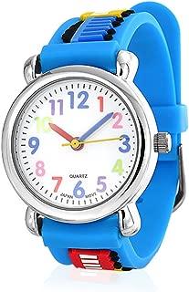 Choo Choo Train Waterproof Wrist Watch Time Teacher Quartz 3D Cartoon Blue Silicone Wristband Round Colorful Dial