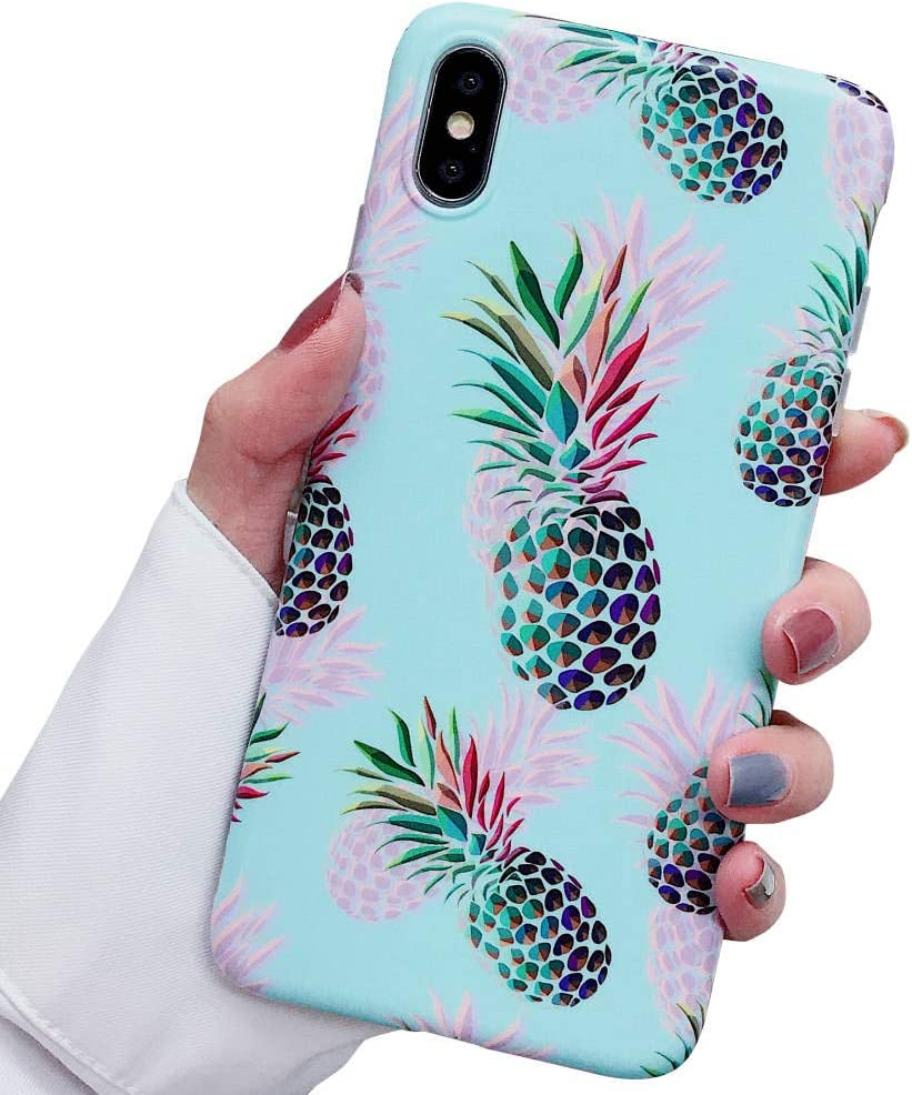 ooooops iPhone Xs Max Case, Red & Green Pineapple Pattern Design, Slim Fit Clear Bumper Soft TPU Full-Body Protective Cover Case for iPhone Xs Max 6.5'' (Illusion Pineapples)