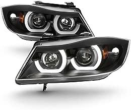 ACANII - For [Halogen Model Only] 2006-2008 BMW E90 3-Series Sedan LED 3D Tube Projector Headlights Black Headlamps Pair