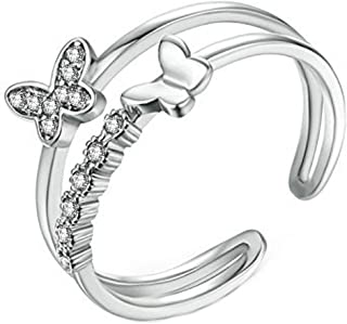 Yellow Chimes Cubic Zirconia Platinum Plated Copper Dual Butterfly Studded Adjustable Opening Ring for Women