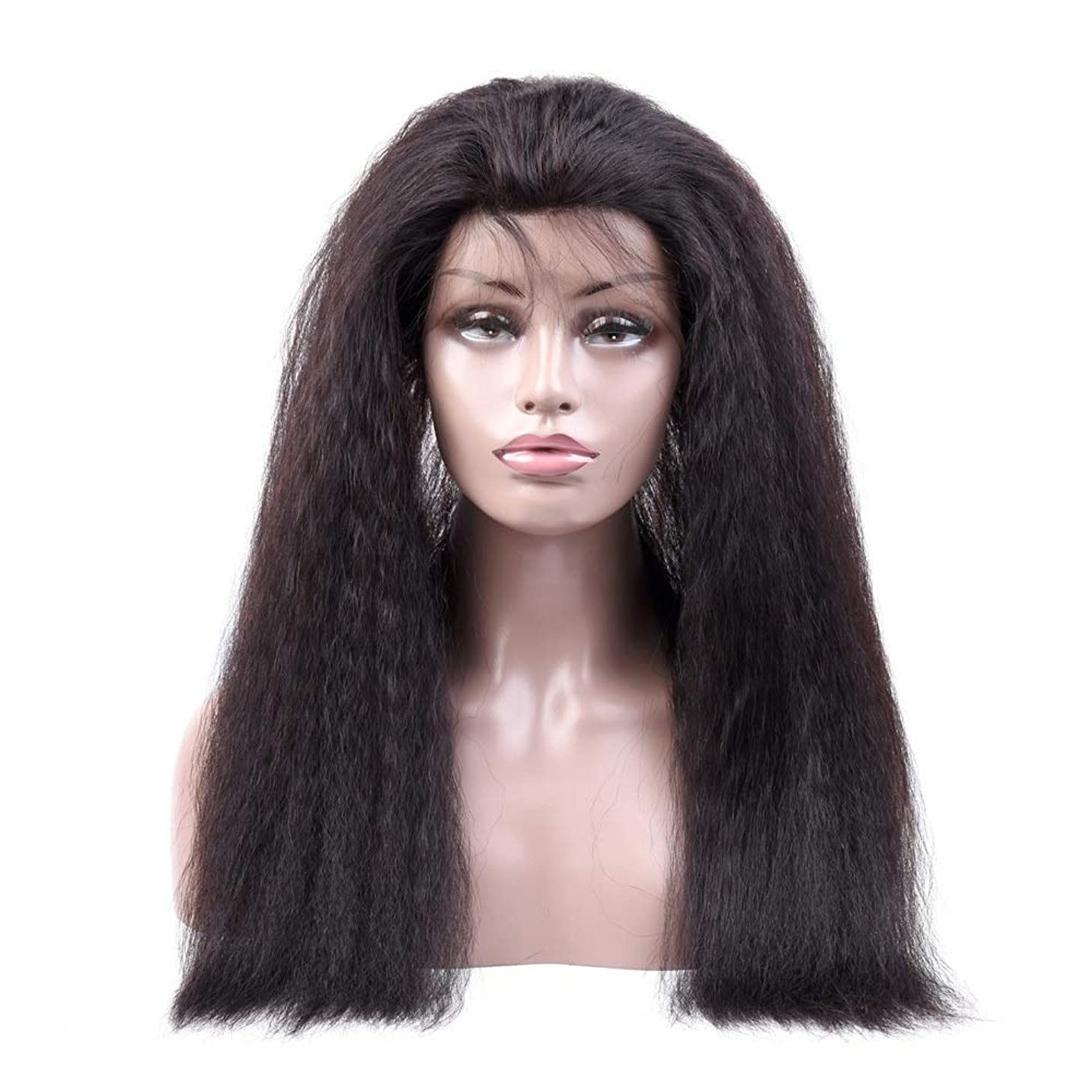 元気ハックチョークYrattary 変態ストレート人間の髪の毛のかつら360レース前頭かつら#1Bナチュラルカラー女性複合かつらレースかつらロールプレイングかつら (色 : 黒, サイズ : 18 inch)