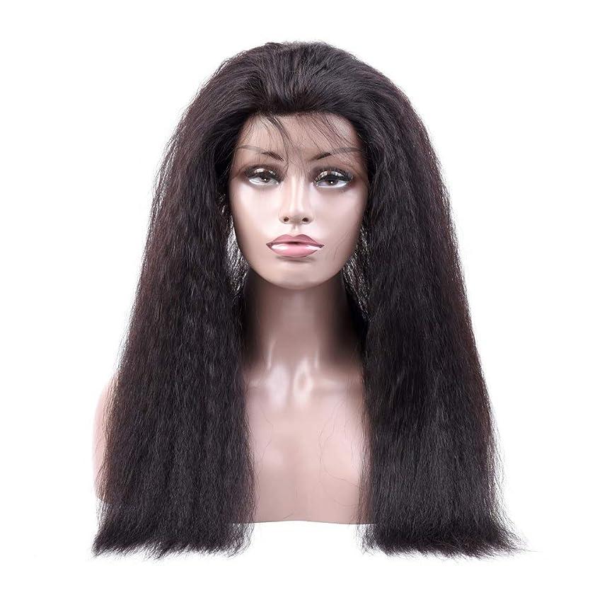 処方する折り目座るYrattary 変態ストレート人間の髪の毛のかつら360レース前頭かつら#1Bナチュラルカラー女性複合かつらレースかつらロールプレイングかつら (色 : 黒, サイズ : 18 inch)