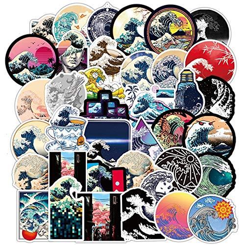 YOUYOU Meereswellen-Aufkleber, rund, Graffiti, Skateboard, Gitarre, Gepäck, Laptop, Vsco, wasserdicht, PVC-Aufkleber, Kinderspielzeug F5, 50 Stück