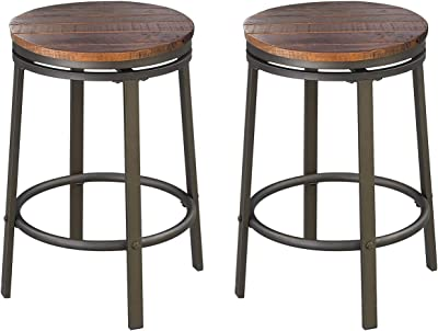Amazon.com: O&K Furniture 24-Inch Backless Swivel Bar Stool, Industrial Kitchen Counter Height Stool Chairs With Wooden Seat-Pub Height, Dark Brown, Set Of 2: Furniture & Decor