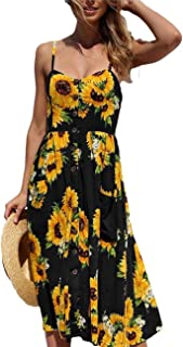 Women's Spaghetti Strap Dress - Holiday Midi Button Decoration Knee Length Printed Floral Swing Boho Dresses