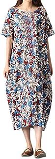 女性の緩い綿半袖プリントドレスろんぐ ぬりえ もこもこ ドレス やすい おおきいサイズ ドレス かみかざり