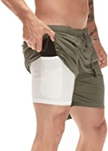 DUOFIER Men's 2-in-1 Running Shorts Workout Training Short with Inner Compression Short and Zip Pocket