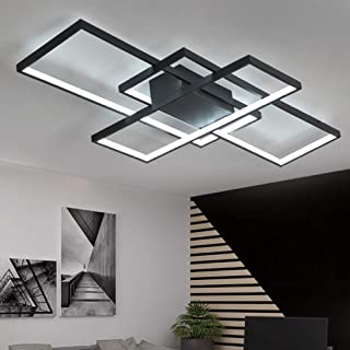 Plafonnier LED moderne à intensité variable avec télécommande lampe de chambre à coucher cuisine plafond rectangulaire en ...