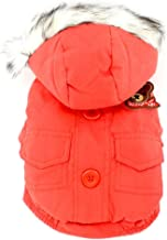 smalllee_lucky_store Thick Cotton-padded Dog Coat Winter Hooded Scarf Bear Patch, Red, XX-Large