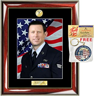 Personalized Photo Frame Military Plaque 8x10 Engraved Framing Armed Forces Soldier Air Force Retire USAF FBI US Navy CIA Matted Mahogany Army Airman Sheriff Law Enforcement Police Officer
