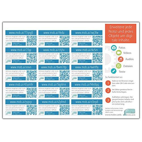 mobycards Multimedia QR-Code Sticker zum erweitern Deiner Grußkarten, Geschenke, Notizbücher/Tagebücher/Fotobücher usw. direkt mit Deinen Videos, Audios, Fotos und mehr. 15 Sticker auf einem DIN A5 Bogen.