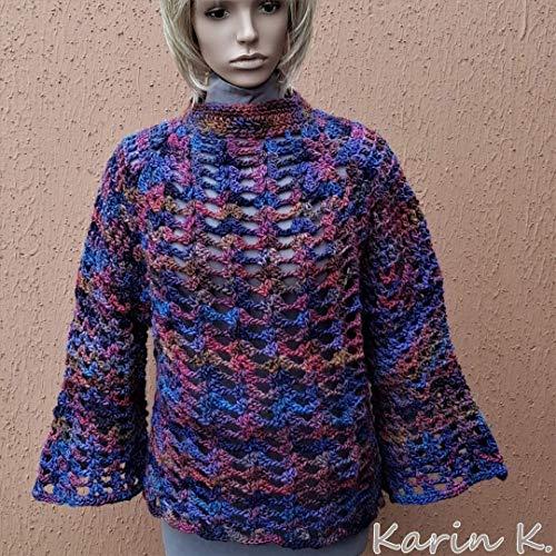 Pullover mit Trompetenärmeln Damen Marine Violett Bordeaux effektvolle Farbverläufe gehäkelt Länge 60 cm Größe 38/40/ 42